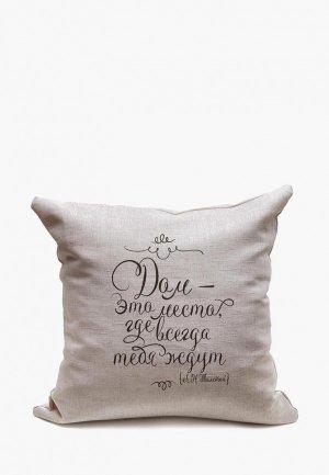 Подушка декоративная Счастье в мелочах Дом - это место, где всегда тебя ждут. Цвет: серый