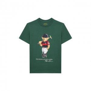 Хлопковая футболка Polo Ralph Lauren. Цвет: зелёный