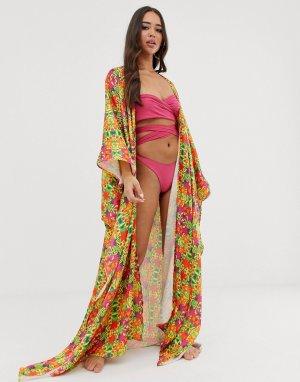 Пляжное кимоно с тропическим принтом Sian Marie