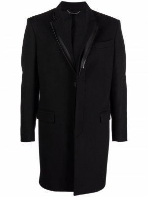 Пальто с многослойными лацканами Les Hommes. Цвет: черный