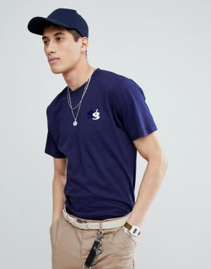 Темно-синяя футболка с флоковым логотипом -Темно-синий Gio Goi