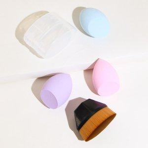 3шт губка для макияжа & 1шт кисть тональной основы SHEIN. Цвет: многоцветный