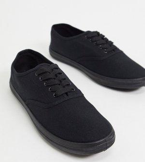 Черные парусиновые кеды-оксфорды для широкой стопы -Черный цвет ASOS DESIGN