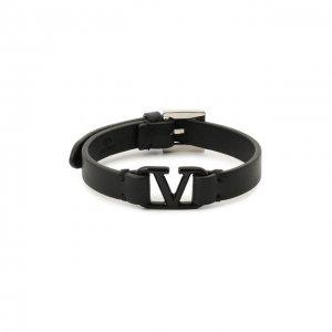 Кожаный браслет Garavani Valentino. Цвет: чёрный