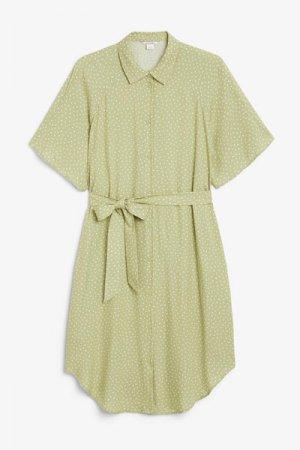 Платье-рубашка миди Monki. Цвет: зеленый