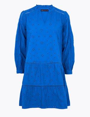 Платье-свинг с длинным рукавом декорировано вышивкой бродери M&S Collection. Цвет: синий