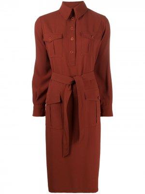 Платье-рубашка с завязками Aspesi. Цвет: коричневый