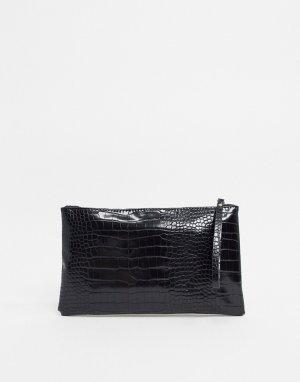 Клатч с эффектом крокодиловой кожи -Черный Vero Moda