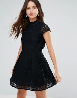 Кружевное платье с высоким воротом Nichole-Черный Louche