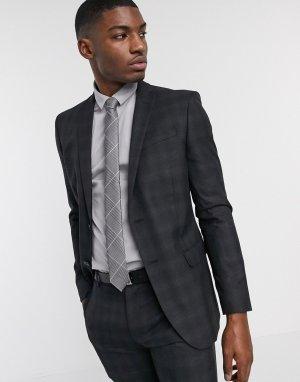 Темно-серый приталенный пиджак в клетку Ben Sherman