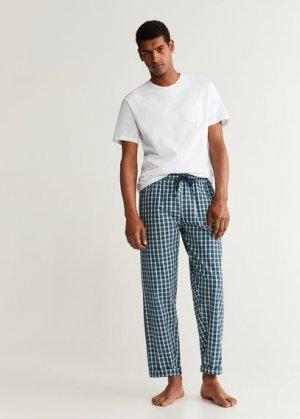 Комплект пижама из хлопка - Pichecks Mango. Цвет: темно-зеленый