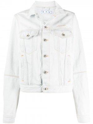Джинсовая куртка с вырезами Off-White. Цвет: белый