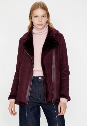 Куртка кожаная Koton. Цвет: бордовый