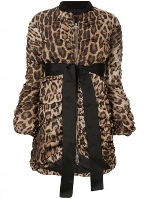 Куртка-бомбер с леопардовым принтом и драпировкой Giambattista Valli. Цвет: коричневый