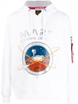 Худи с принтом Mars 2020 Alpha Industries. Цвет: белый