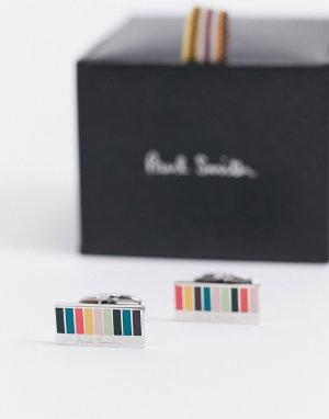 Серебристые запонки в стиле колор блок -Серебряный Paul Smith