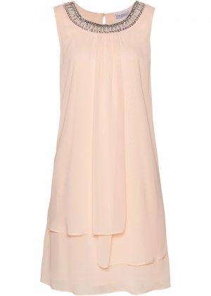 Платье с аппликацией bonprix. Цвет: розовый