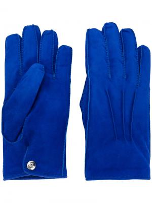 Перчатки на кнопках Alexander McQueen. Цвет: синий