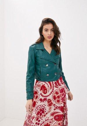 Куртка кожаная Twinset Milano. Цвет: зеленый