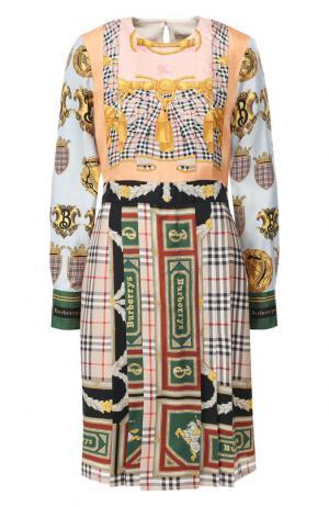 Шелковое платье-миди Burberry. Цвет: разноцветный