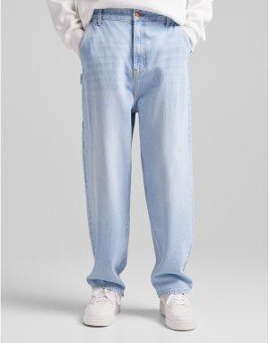 Синие рабочие джинсы с широкими штанинами -Голубой Bershka
