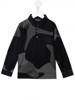 Камуфляжная рубашка поло с длинными рукавами Emporio Armani Kids. Цвет: черный