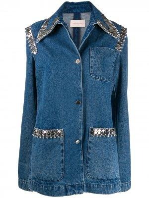 Джинсовая куртка с цепочным декором Christopher Kane. Цвет: синий