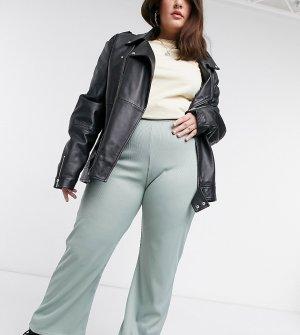 Эксклюзивные брюки клеш с фактурой в рубчик шалфейно-зеленого цвета COLLUSION большого размера-Зеленый