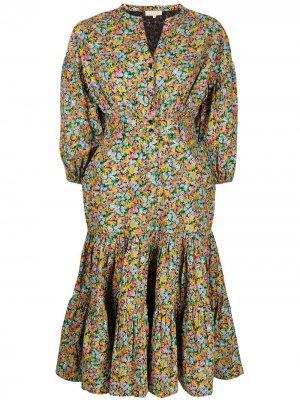 Платье-рубашка структурного кроя byTiMo. Цвет: синий