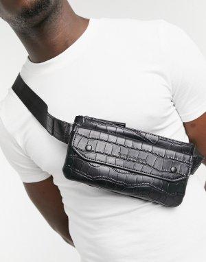 Черная сумка-кошелек на пояс с крокодиловым принтом Smith & Canova-Черный цвет And Canova