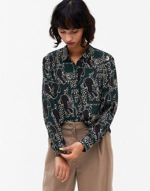 Рубашка из переработанных материалов со сплошным звериным принтом Helle-Многоцветный Monki