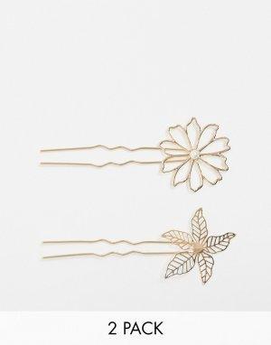 Набор из 2 золотистых заколок для волос с цветком и листиком -Золотой ASOS DESIGN