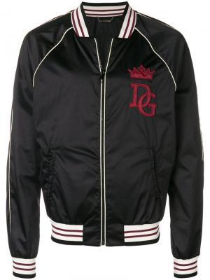 Куртка-бомбер с нашивкой Dolce & Gabbana. Цвет: черный