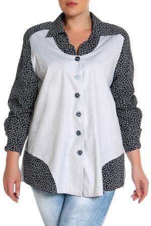 Блуза EVA Collection. Цвет: черно-белый