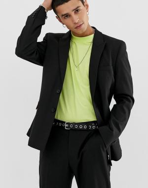 Черный приталенный пиджак COLLUSION