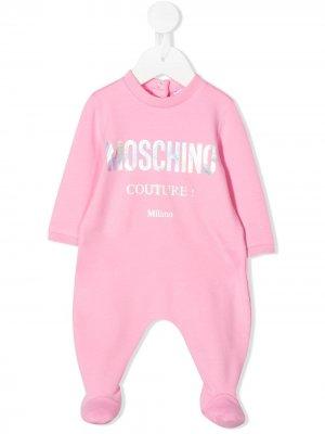 Пижама с логотипом металлик Moschino Kids. Цвет: розовый