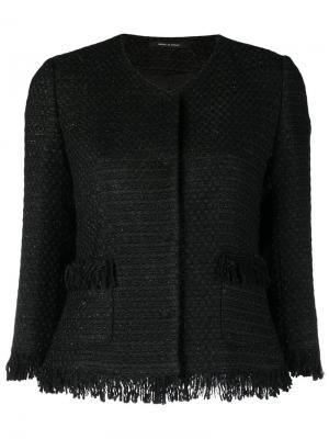 Твидовый пиджак с бахромой Tagliatore. Цвет: черный