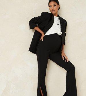Черные расклешенные брюки в рубчик с разрезом -Черный цвет Missguided Maternity