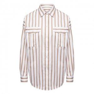 Хлопковая рубашка BOSS. Цвет: разноцветный