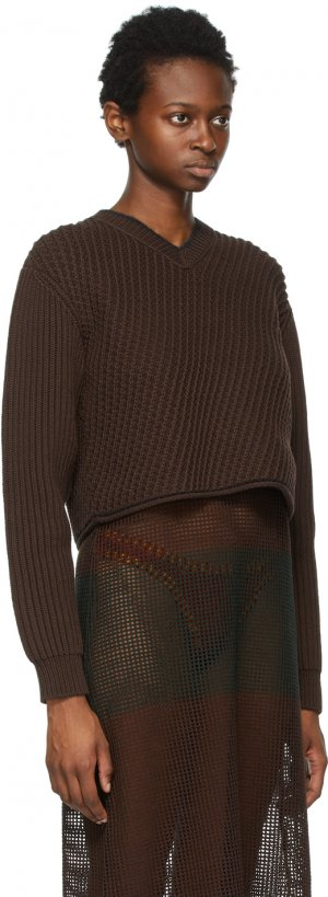 Brown Cropped Sweater Acne Studios. Цвет: adm dk brow