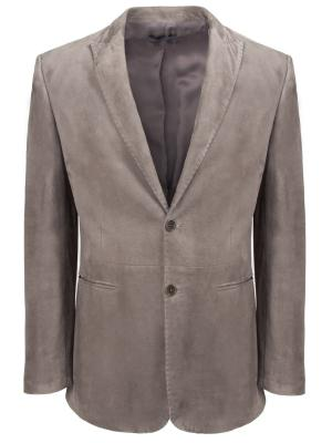 Замшевый пиджак JOHN VARVATOS. Цвет: бежевый