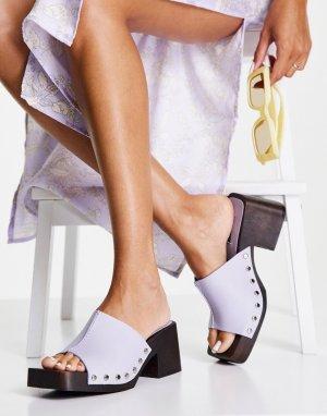 Сиреневые кожаные мюли-сабо на среднем каблуке Rosie-Фиолетовый цвет Topshop