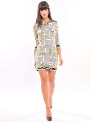 Платье Analili. Цвет: светло-серый, желтый, черный