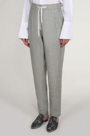 Серые брюки с кулиской и шнурком BILANCIONI. Цвет: серый