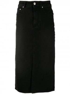 Джинсовая юбка-карандаш MSGM. Цвет: черный