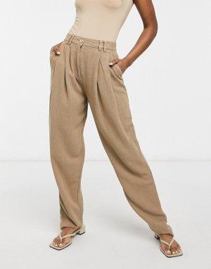 Свободные льняные брюки светло-коричневого цвета со складками спереди -Коричневый цвет ASOS DESIGN