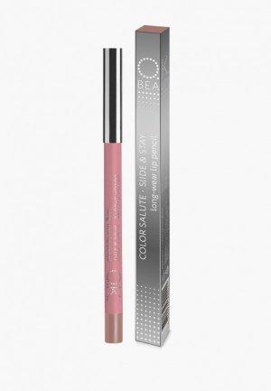Карандаш для губ OK Beauty COLOR SALUTE SLIDE and STAY long-wear lip pencil, тон SANDY. Цвет: бежевый