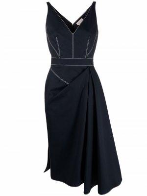 Asymmetric stitch-detail dress Alexander McQueen. Цвет: синий