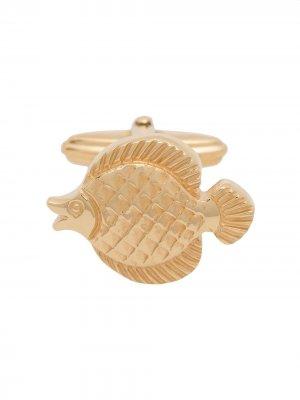 Запонки в форме рыбы LANVIN. Цвет: золотистый