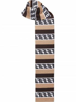 Шарф Pequin в полоску Fendi. Цвет: коричневый